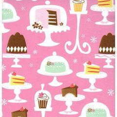 Cakes & Cupcakes on Pink Heavy Gift Wrapping - 6 Ft Sheet