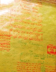 Christmas Carols Musical Script on Gold Foil Embossed Gift Wrapping Paper - 30 Ft Roll