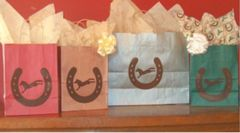 Horse Shoe & Bucking Horse Gift Bags - Forest Green Medium Size