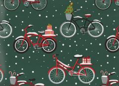 Old Fashioned Bicycles Christmas Gift Wrapping - 30 In x 25 Ft Roll