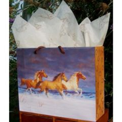 Snow Horses Laminated Eurotote Gift Bag - 25 Medium
