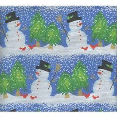 Snowman & Cardinal Heavy Embossed Foil Finish Gift Wrap -30 Ft Roll