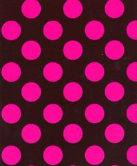 Big Pink Polka Dots on Chocolate Heavy Embossed Gift Wrapping Paper - Two 6 Ft Sheets