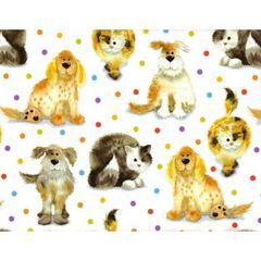 Dogs & Cats on Polka Dots Heavy Gift Wrapping - 6 ft Sheet