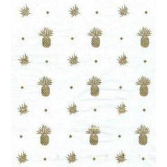 Pineapple Gold Foil on White Tissue Paper - 10 Sheets