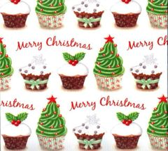 Christmas Cupcakes Heavy Embossed Gift Wrapping Paper - 6 Ft Sheet
