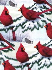 Red Cardinals Heavy Extra Wide Gift Wrapping - 30 In x 25 Ft Roll