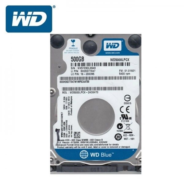 WD Blue 500GB Mobile 7.00mm Hard Disk Drive - 5400 RPM SATA 6Gb/s Cache 2.5 Inch - WD5000LPCX
