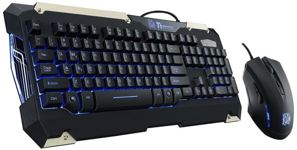 Thermaltake Tt eSPORTS Commander Blue LED Backlighting Mechanical Keycaps Membrane Gaming Keyboard & 2400 DPI Blue LED Optical Gaming Mouse Combo KB-CMC-PLBLUS-01