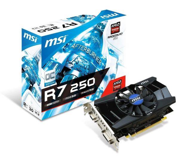 MSI Radeon R7 250 DirectX 12 R7 250 2GD3 OC 2GB 128-Bit DDR3 PCI Express 3.0 x16 HDCP Ready CrossFireX Support Video Card