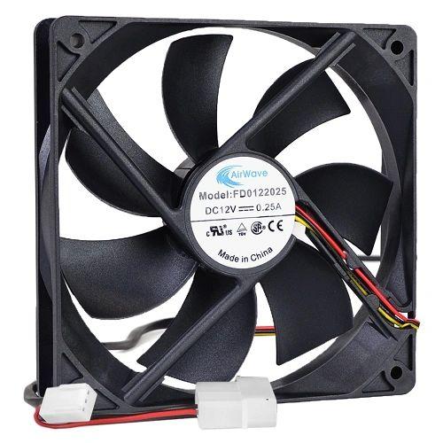 "4.75"" X 4.75"" (120Mm) Airwave Computer Case Fan 3 Pin & 4 Pin Connectors - Black"