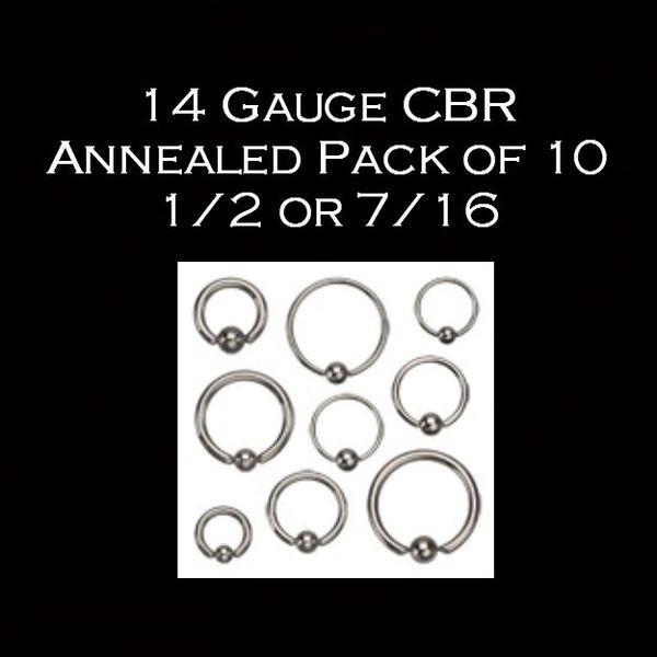 14 Gauge 1/2 or 7/16 CBR Annealed Pack of 10