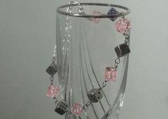 Silver-tone 6 Sided Dice Bracelet