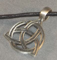 Charmed Triquetra with Stripe Pewter Pendant on Neck Cord