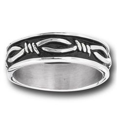 STAINLESS STEEL BARBED WIRE BAND RING