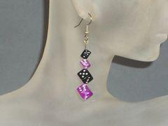 Acrylic Dice Earrings with Four D6