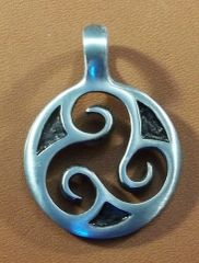 Open Triskele Pewter Pendant on Neck Cord