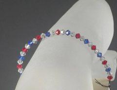Slerling Silver Red White and Blue Swarovski Crystal Bracelet