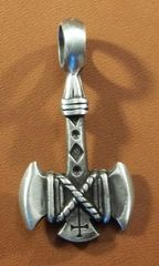 Double Axe with Cross Pewter Pendant on Neck Cord