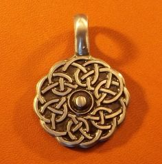 Celtic Round Shield Pewter Pendant on Neck Cord