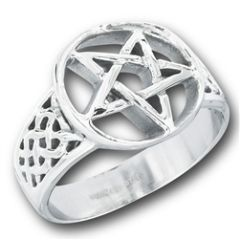 STAINLESS STEEL CELTIC PENTAGRAM RING