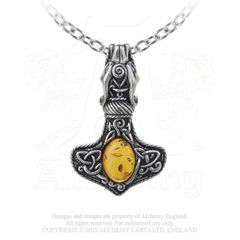 P728 - Amber Dragon Thorhammer Pendant