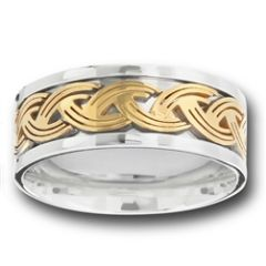 STAINLESS STEEL RING WITH GOLD WEAVE