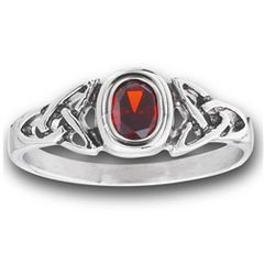 STAINLESS STEEL CELTIC RING WITH RED CZ