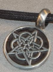 Pentagram Round with Circles Pewter Pendant on Neck Cord