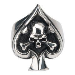 Men's Sovereign Steel Black Oxidized Skull Spade Ring