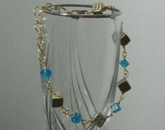 Gold-tone 6 Sided Dice Bracelet