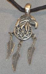 Eagle with Dream Catcher Pewter Pendant on Neck Cord