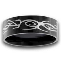 STAINLESS STEEL BLACK IP TATTOO RING