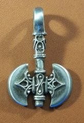 Barbarian Double Axe Pewter Pendant on Neck Cord