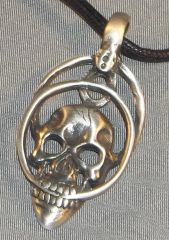 Skull with Rings Pewter Pendant on Neck Cord
