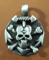 Skull and Anchor Pirate Coin Pewter Pendant on Neck Cord