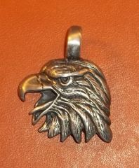 Eagle Head Pewter Pendant on Neck Cord