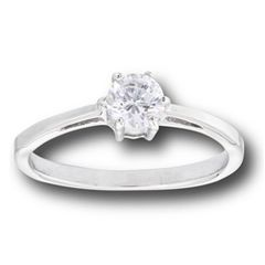 STAINLESS STEEL SOLITAIRE RING WITH CLEAR CZ