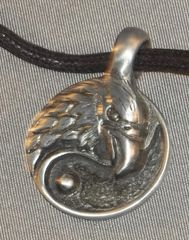 Eagle Head Yin-Yang Pewter Pendant on Neck Cord
