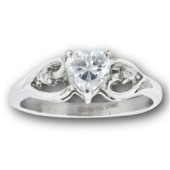 STAINLESS STEEL HEART RING WITH CLEAR CZ