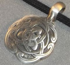 Celtic Knots with Triquatra Inside Pewter Pendant on Neck Cord