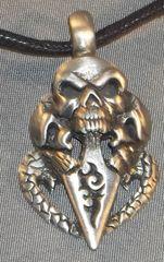Three Skulls with Blade Pewter Pendant on Neck Cord