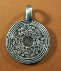 Celtic Round Spirals Pewter Pendant on Cord