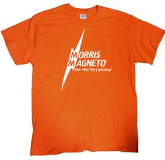 Morris Magneto Orange shirt (white logo)