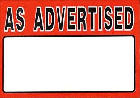 As Advertisied Red Sign Card - 5 x 7 (100 units)