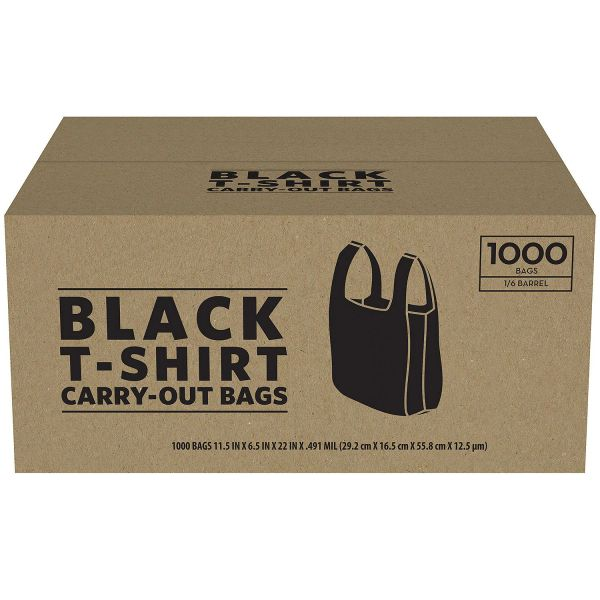 Black Plastic T-Shirt Carry Out Bags 1000ct BOX
