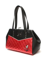 Elvira Femme Fatale Kiss Lock in Black Matte with Red Sparkle