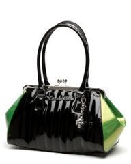 Lady Vamp Doctors Bag Black Shiny and Lime Sparkle