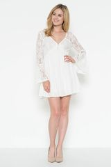 Short Length Cream Dress with Lace Sleeves