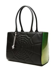 Elvira Lucky Me Tote in Black Matte with Green Sparkle
